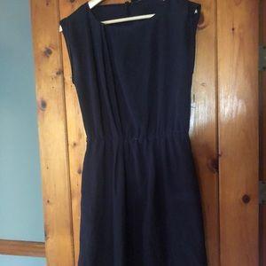 Cap sleeve navy dress